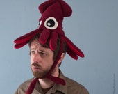 Plush Squid Hat - Small Burgundy Fleece