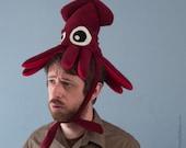 Plush Squid Hat - Small Burgundy Fleece