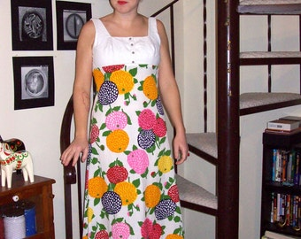 Vintage white maxi dress with bright floral pattern - small