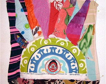 mom's mini dress - Fabric Collage Clothing Wearable Folk Art -Altered Custo BARCELONA Tunic -- Upcycled Recycled  - mybonny random scraps