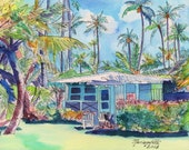 Kauai Blue Cottage 2 8x10 print from Kauai Hawaii teal aqua tropical