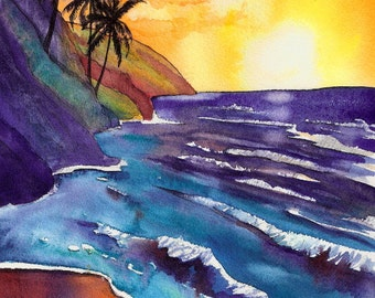 Kauai Na Pali Sunset 5x7 Art Print from Kauai Hawaii ocean beach tropical