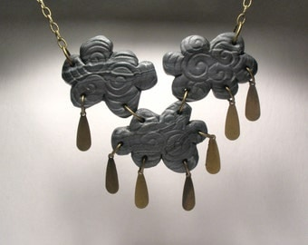 Thunderstorm Cloud Necklace - Raincloud Jewelry