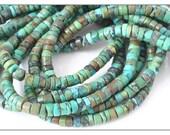 Turquoise heishi beads natural Tibetan Turquoise 5mm 6mm heishi beads full strand untreated stones unisex olive green blue tan