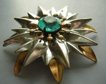 Vintage 40s Brooch Pin - Deep Aqua Rhinestone 2 Tone Gold & Silver Dandelion CLEARANCE