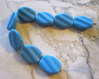 Vintage Turquoise Twist Glass Beads
