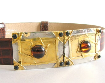 Vintage 1980's Elaine Coyne Belt - Bright Brass ArticulatedBuckle with Simulated Amber - Adjustable Alligator Leather Chunky Belt