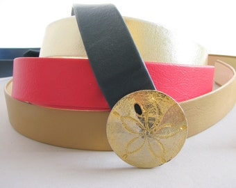Five Vintage Belts with 1970's Designer Sand Dollar Buckle by Mimi DiNisemi, Size 2 to 12