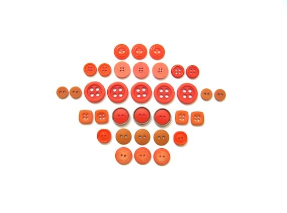 RESERVED for Lmmaxwe2- Vintage Button Sets- Orange Twist
