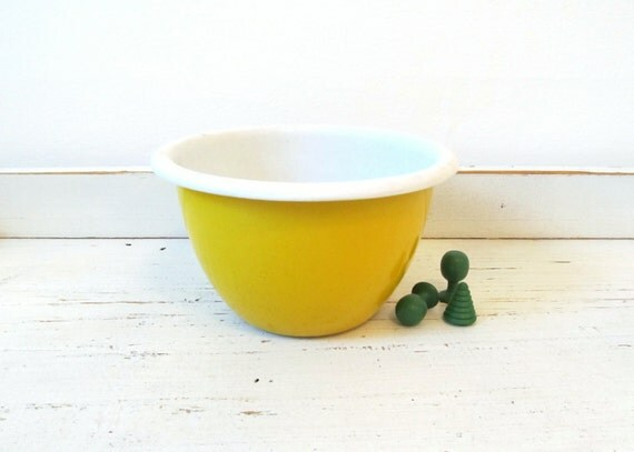 Vintage Enamelware Bowl Yellow White