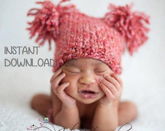 Chunky Jester Pompom Baby Hat Knitting Pattern, PDF 110, INSTANT DOWNLOAD -- Very Easy -- Sell your hats -- Over 35,000 patterns sold