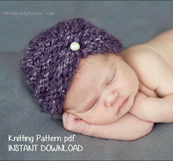 Knitting Pattern For Baby Turban : Items similar to Purl Ridge Baby Turban Hat Knitting Pattern PDF 118, INSTANT...