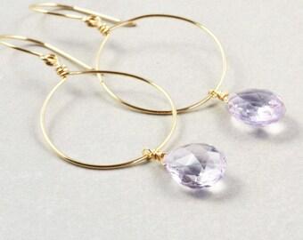 Purple Hoop Earrings, Amethyst Dangle Earrings, Lavender Earrings, February Birthstone