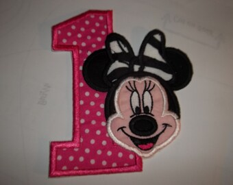 Birthday Minnie Full color Face with Number 1    iron on applique