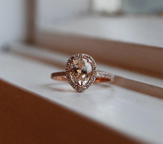 1 6ct Peach champagne tear drop sapphire 14k rose gold diamond