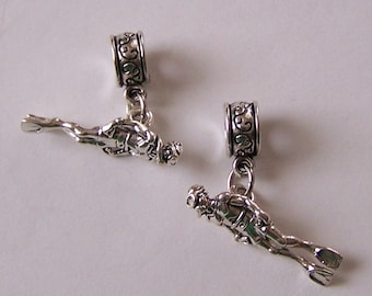 Sterling Silver 3D SCUBA DIVER Bead Charm for  Brand Add a Bead Bracelets -