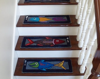 Made To Order - Set of 12 Hand Hooked Fish Stair Treads