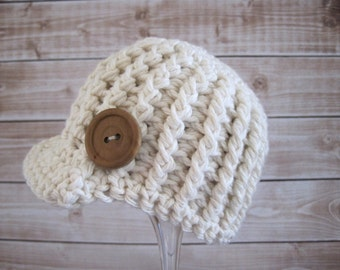 Crochet Baby Hat, Baby Newsboy Hat, Crochet Baby Beanie, Baby Visor Hat, Baby Boy Hat, Baby Girl Hat, Newborn Beanie, Infant Beanie, Ecru