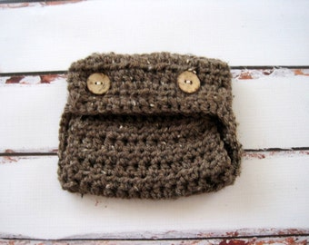 Crochet Diaper Cover, Baby Diaper Cover, Boy Diaper Cover, Girl Diaper Cover, Photo Prop, Infant Diaper Cover, Newborn Diaper Cover, Brown