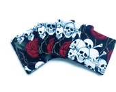 Handmade Quilted  Coasters set of 4 Skulls and Roses Alexander Henry Black Red tattoo