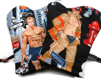 Handmade Oven Mitts Hot Fireman set of 2