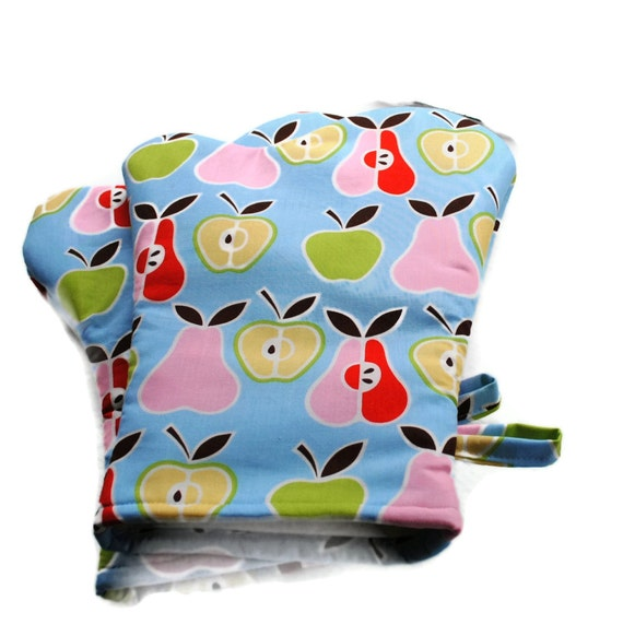 Handmade Oven Mitts set of 2 Alexander Henry Apples and Pears Blue