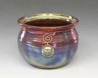 Raku Pot, raku pottery with Moon Face, Copper, Gold, Fuscia, Blue Metallic and Iridescent Colors