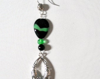 Boho Dangle Black, Emerald Green and Silver Beaded Crystal Earrings
