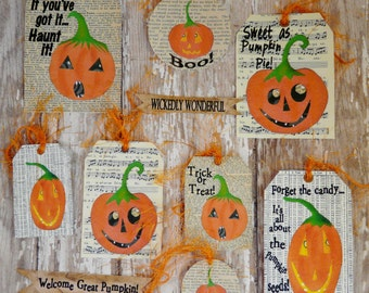 Halloween Pumpkin Paper Tags PDF  - Collage Sheet Email U Print saying collage art vintage sayings scrapbooking primitive digital