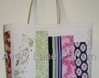 Leaning Book Shelf Bag by Avery Lane Designs PDF sewing Pattern Instant Download