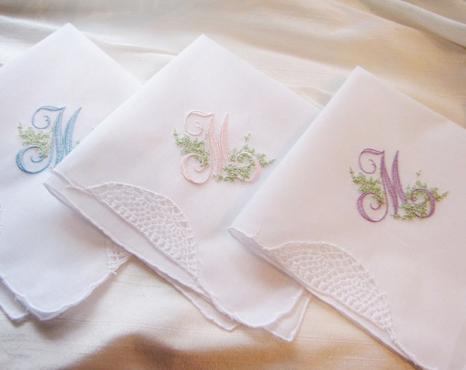 Three Elegantly Monogrammed Wedding Handkerchiefs