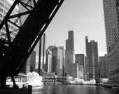 Kinzie Bridge Skyline View - 8x12 Fine Art Infrared Photograph