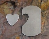 """5 Deburred 1 1/8"""" x 2"""" DOG TAGS w/ offset heart *Choose Your Metal* Aluminum Brass Bronze Copper Nickel Silver  Stamping Blanks"""