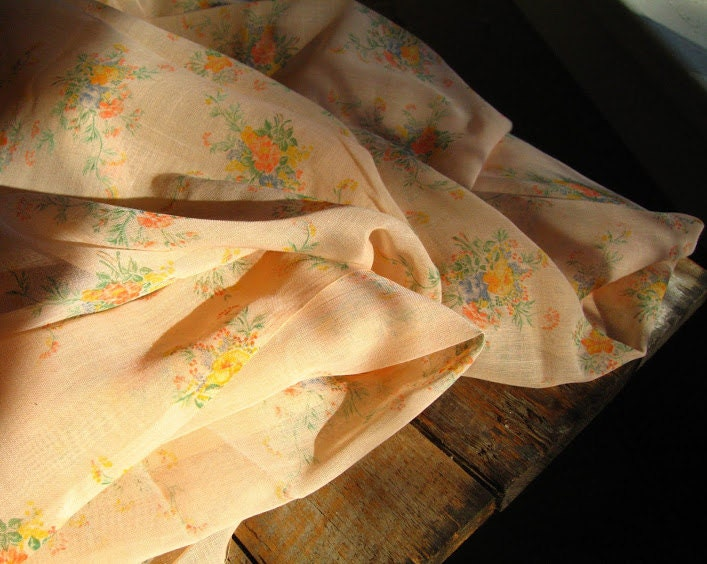 vintage sheer cotton floral fabric in pink