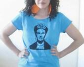 T-Shirt, Frida Kahlo, Mexican, Feminist Artist, Screen print, Scoop Neck, BLUE, SMALL