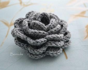 Crochet flower brooch, shawlpin, grey I906