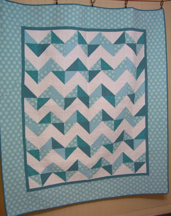 Items similar to Modern Chevron Lap Quilt in Blue and ...