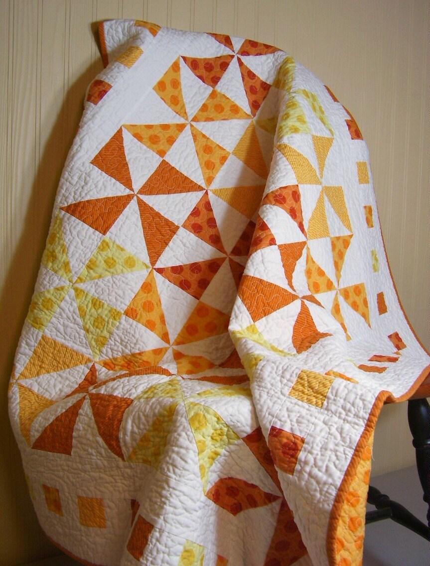 Citrus Orange Lap Quilt Orange Yellow White By