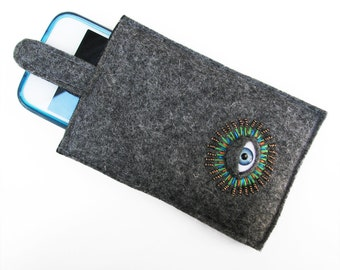 "iPhone 4 Case Gray Wool Felt - ""Eye phone"" cozy"