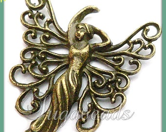 5 Anitqued Brass Graceful Butterfly Fairy or Goddess Charms 26mm PB55