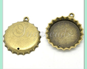 5 Antiqued Brass Cabochon Trays - Cabochon Settings, Glass Dome Settings 25mm PB27