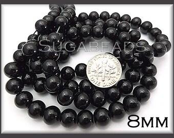 50 Jet Black Glass Pearls - Black Glass Beads 8mm