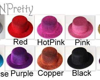 TWO 5 inches Glitter Non Flaking mini top hat