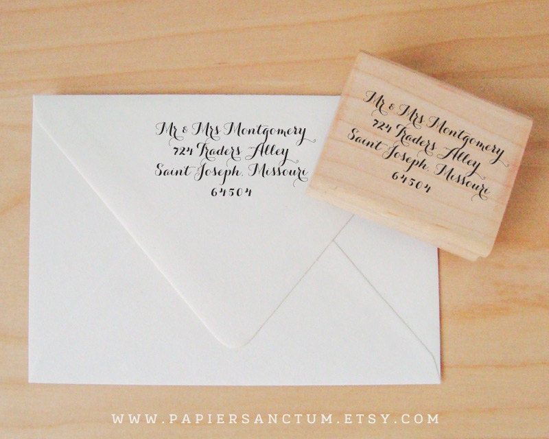 custom rubber stamp wedding return address or by papiersanctum