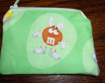 Easter orange handmade Coin/change purse made w/ M&M'S Licensed Fabric