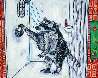 raccoon bathroom animal art tile coaster  JSCHMETZ modern abstract folk pop art AMERICAN ART gift
