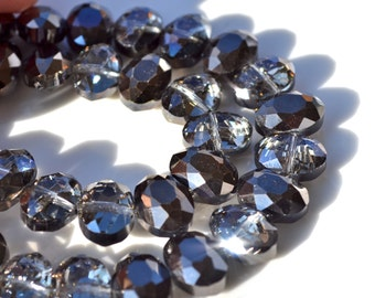 Gunmetal Grey Faceted Oval Crystal Beads 6