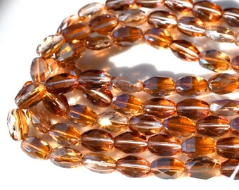 Amber Shimmer Faceted Oval Czech GLass Beads   15