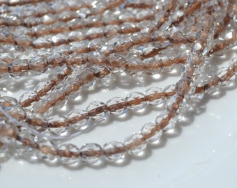Crystal Cafe Brown Lined 6mm Czech Glass Beads   25