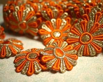 Vintage Flower Trim - Orange Gold